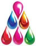 Conjunto de gotas del color. Fotografía de archivo