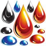 Conjunto de gotas del petróleo y del agua. Fotografía de archivo