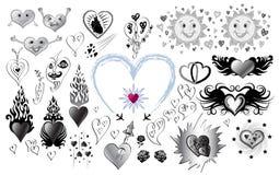 Conjunto de gráficos con los corazones Foto de archivo libre de regalías