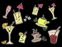 Conjunto de gráficos de las bebidas ilustración del vector