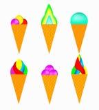 Conjunto de helado multicolor Fotografía de archivo