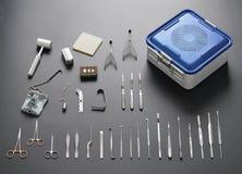 Conjunto de herramienta médico y quirúrgico del acero inoxidable Fotos de archivo libres de regalías