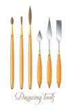 Conjunto de herramientas de gráfico Cepillos y cuchillo de paleta Vector Imagen de archivo