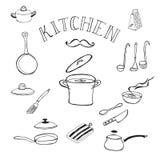 Conjunto de herramientas de la cocina Garabatea la colección Imagenes de archivo