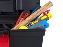 Conjunto de herramientas de la construcción en el cierre del rectángulo para arriba. Imagen de archivo libre de regalías