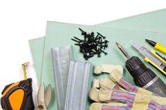 Conjunto de herramientas de la mampostería seca Imagenes de archivo