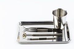 Conjunto de herramientas del equipamiento médico del metal imagen de archivo