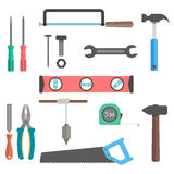 Conjunto de herramientas en el fondo blanco Imagen de archivo