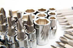 Conjunto de herramientas metálicas como fondo Imágenes de archivo libres de regalías
