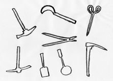 Conjunto de herramientas que cultivan un huerto Foto de archivo