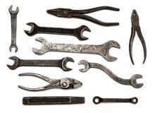 Conjunto de herramientas sucias viejas Fotografía de archivo libre de regalías