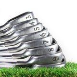 Conjunto de hierros del golf Imágenes de archivo libres de regalías