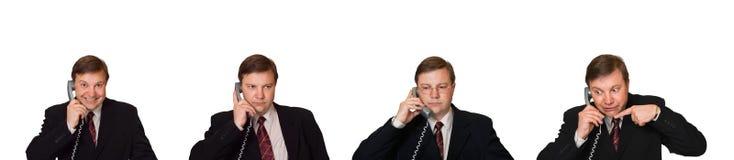 Conjunto de hombres con el teléfono Imagenes de archivo