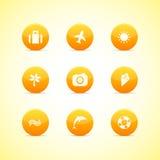 Conjunto de iconos anaranjados: tema del día de fiesta Foto de archivo libre de regalías
