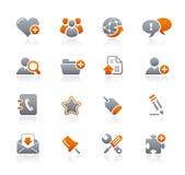 Conjunto de iconos anaranjados y grises