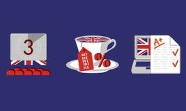 Conjunto de iconos Aprendizaje de inglés Cursos ingleses Imagen de archivo libre de regalías