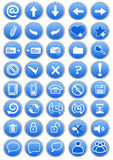Conjunto de iconos azules Foto de archivo libre de regalías