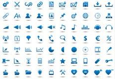 Conjunto de iconos azules Fotografía de archivo