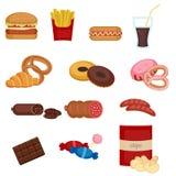 Conjunto de iconos coloridos de los alimentos de preparación rápida de la historieta stock de ilustración