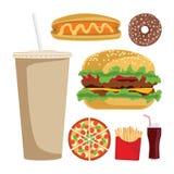 Conjunto de iconos coloridos de los alimentos de preparación rápida de la historieta Fotos de archivo