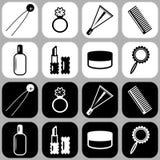 Conjunto de iconos con los objetos de la señora Fotografía de archivo libre de regalías