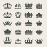 Conjunto de iconos de la corona Imágenes de archivo libres de regalías
