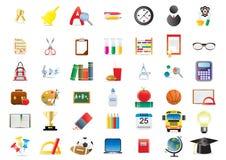 Conjunto de iconos de la escuela Imagen de archivo
