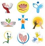 Conjunto de iconos de la espiritualidad/de la religión Imágenes de archivo libres de regalías