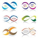 Conjunto de iconos de la molécula de los iconos/DNA del símbolo del infinito Fotografía de archivo libre de regalías