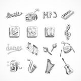 Conjunto de iconos de la música Fotografía de archivo