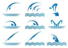 Conjunto de iconos de la natación Foto de archivo libre de regalías