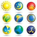 Conjunto de iconos de la naturaleza Imagen de archivo