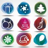 Conjunto de iconos de la Navidad del invierno Fotografía de archivo libre de regalías
