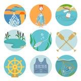 Conjunto de iconos de la pesca Imágenes de archivo libres de regalías