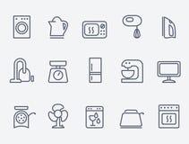 Conjunto de iconos de los aparatos electrodomésticos Imágenes de archivo libres de regalías