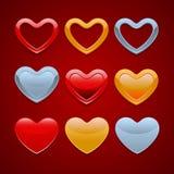 Conjunto de iconos de los corazones Imagen de archivo