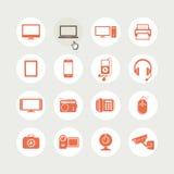 Conjunto de iconos de los dispositivos electrónicos Imágenes de archivo libres de regalías