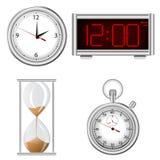 Conjunto de iconos de los instrumentos de la medida del tiempo Foto de archivo libre de regalías