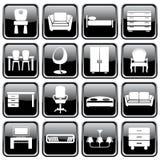Conjunto de iconos de los muebles Fotografía de archivo libre de regalías