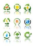 Conjunto de iconos de reciclaje ambientales Imagen de archivo