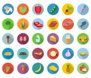 Conjunto de iconos del alimento Foto de archivo libre de regalías