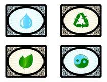 Conjunto de iconos del ambiente aislados en blanco Fotos de archivo