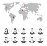 Conjunto de iconos del avatar Saludos a través del mundo Imágenes de archivo libres de regalías