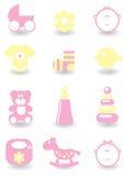 Conjunto de iconos del bebé Foto de archivo libre de regalías