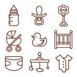 Conjunto de iconos del bebé Sistema de elementos del garabato Logotipos de los niños Imágenes de archivo libres de regalías