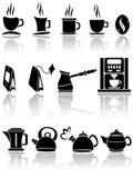 Conjunto de iconos del café y del té Fotos de archivo