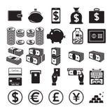 Conjunto de iconos del dinero Fotos de archivo libres de regalías