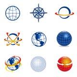 Conjunto de iconos del globo/de la navegación Fotografía de archivo libre de regalías