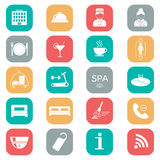 Conjunto de iconos del hotel Diseño plano Silueta Imágenes de archivo libres de regalías