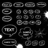Conjunto de iconos del ordenador del doodle Fotografía de archivo